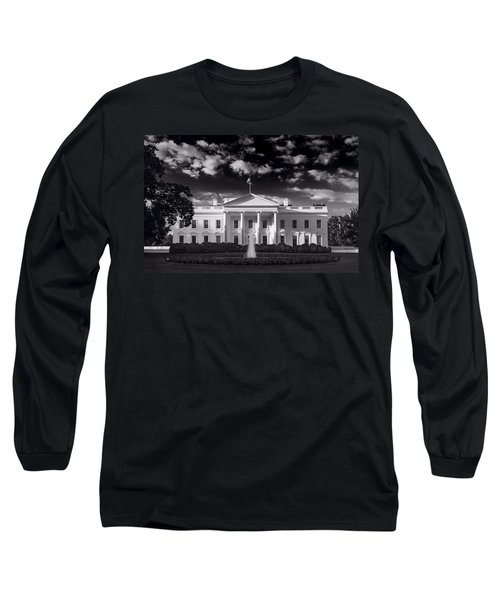 White House Sunrise B W Long Sleeve T-Shirt by Steve Gadomski