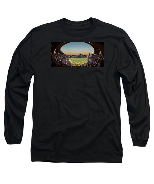 Wrigley Field Night Game Chicago Long Sleeve T-Shirt by Steve Gadomski