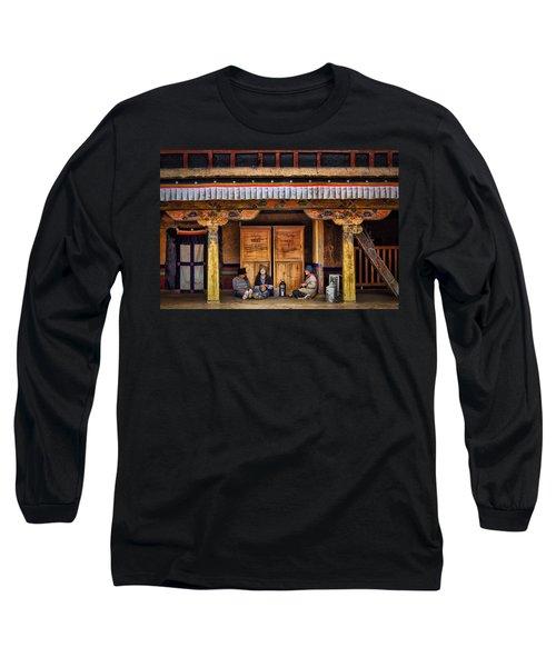 Yak Butter Tea Break At The Potala Palace Long Sleeve T-Shirt by Joan Carroll