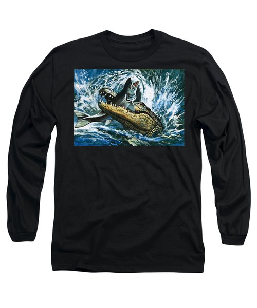 Alligator Eating Fish Long Sleeve T-Shirt by English School