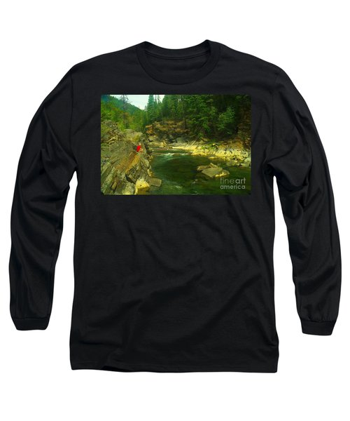Cliff Over The Yak River Long Sleeve T-Shirt by Jeff Swan