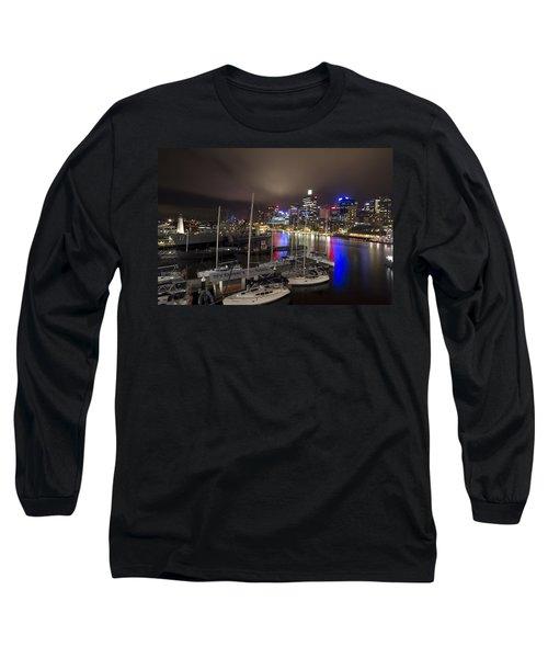 Darling Harbor Sydney Skyline 2 Long Sleeve T-Shirt by Douglas Barnard