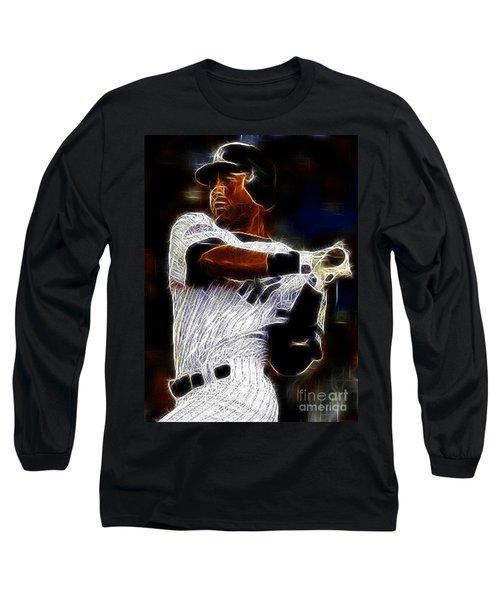 Derek Jeter New York Yankee Long Sleeve T-Shirt by Paul Ward