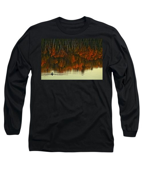 Loon In Opeongo Lake With Reflection Long Sleeve T-Shirt by Robert Postma
