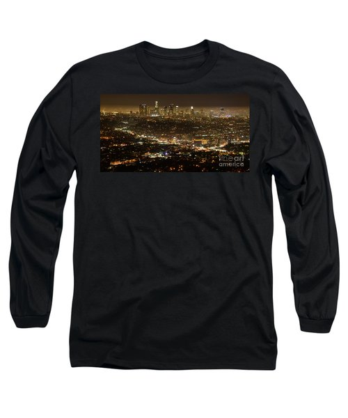 Los Angeles  City View At Night  Long Sleeve T-Shirt by Bob Christopher