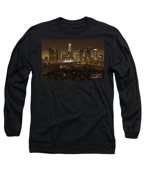 Los Angeles Skyline At Night Long Sleeve T-Shirt by Bob Christopher