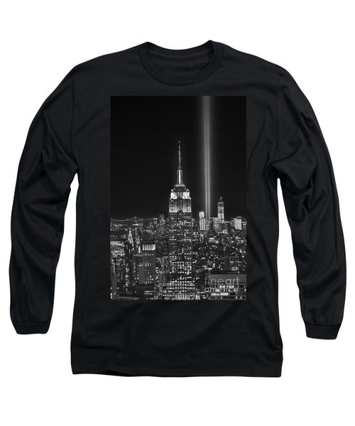 New York City Tribute In Lights Empire State Building Manhattan At Night Nyc Long Sleeve T-Shirt by Jon Holiday