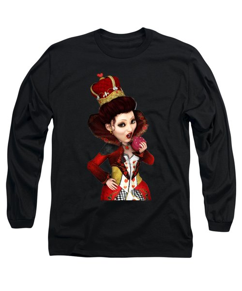 Queen Of Hearts Portrait Long Sleeve T-Shirt by Methune Hively
