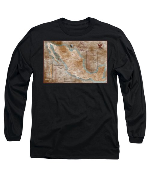 Mexico Surf Map  Long Sleeve T-Shirt by Lucan Hirales