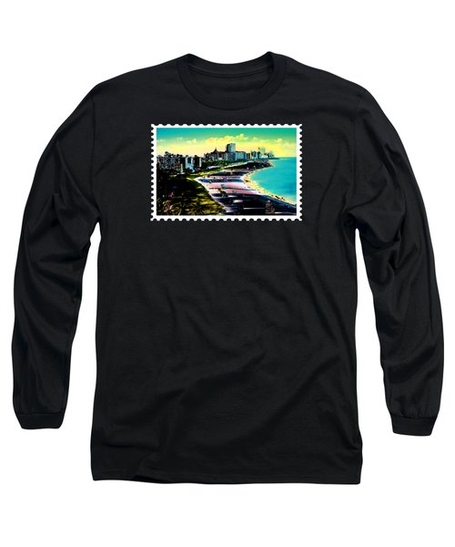 Surreal Colors Of Miami Beach Florida Long Sleeve T-Shirt by Elaine Plesser
