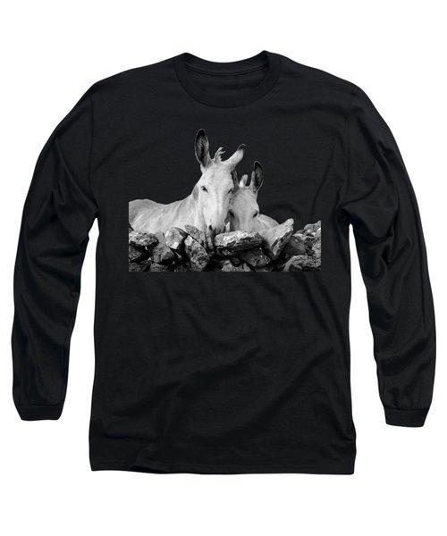 Two White Irish Donkeys Long Sleeve T-Shirt by RicardMN Photography