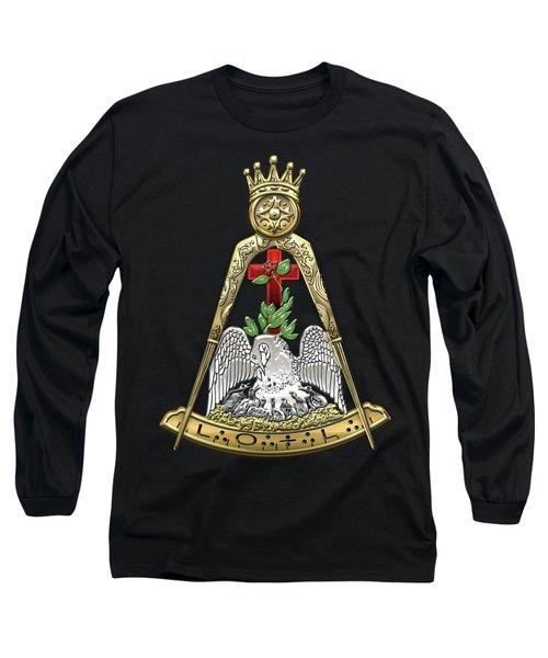 18th Degree Mason - Knight Rose Croix Masonic Jewel  Long Sleeve T-Shirt by Serge Averbukh