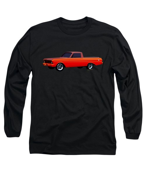 1965 Ford Falcon Ranchero Day At The Beach Long Sleeve T-Shirt by Chas Sinklier