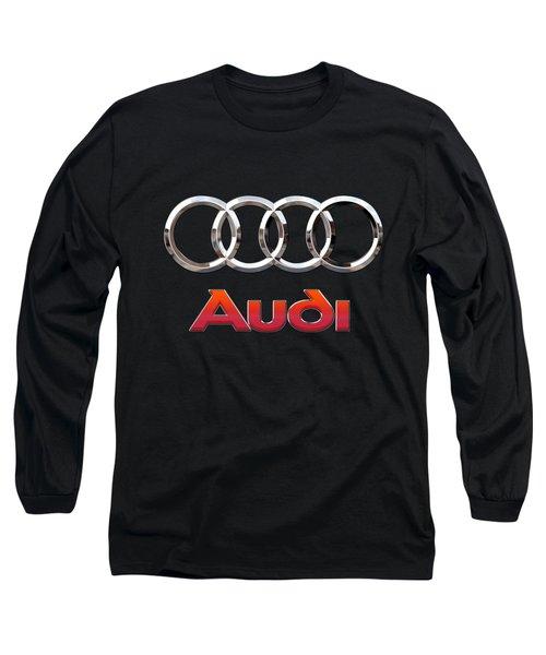Audi - 3 D Badge On Black Long Sleeve T-Shirt by Serge Averbukh