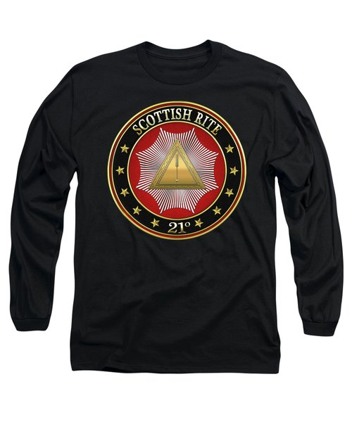 21st Degree -  Noachite Or Prussian Knight Jewel On Black Leather Long Sleeve T-Shirt by Serge Averbukh