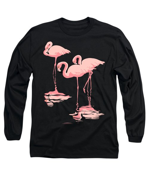 3 Pink Flamingos Long Sleeve T-Shirt by Walt Curlee
