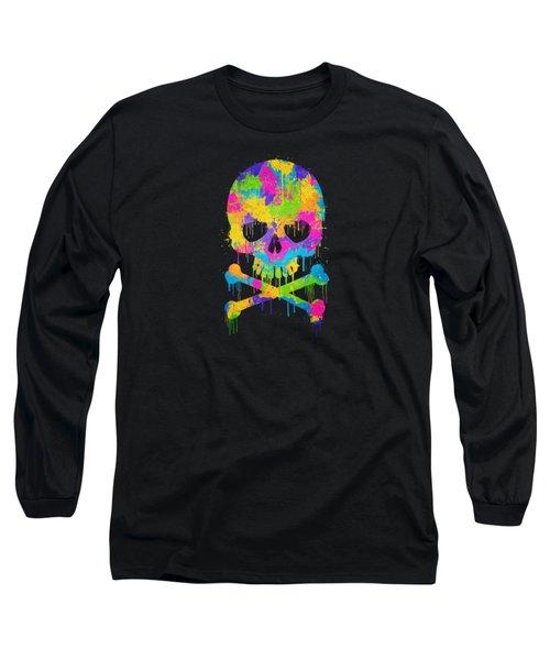 Abstract Trendy Graffiti Watercolor Skull  Long Sleeve T-Shirt by Philipp Rietz
