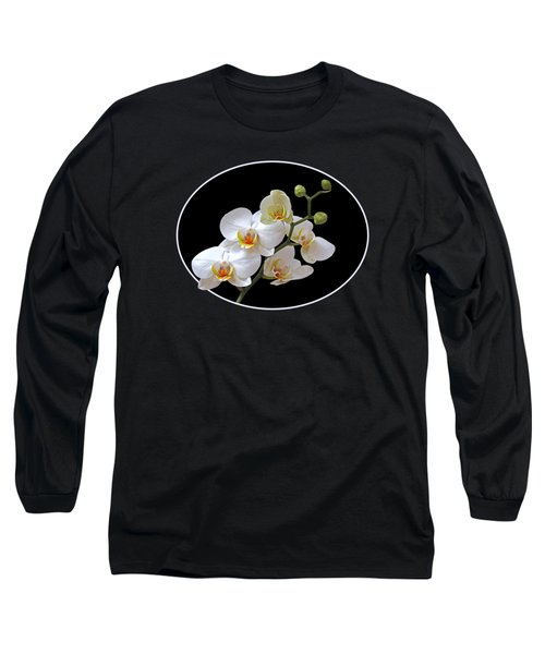 White Orchids On Black Long Sleeve T-Shirt by Gill Billington