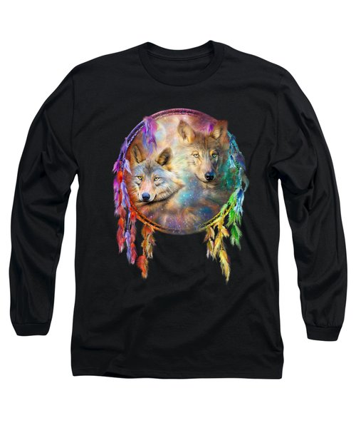 Dream Catcher - Wolf Spirits Long Sleeve T-Shirt by Carol Cavalaris
