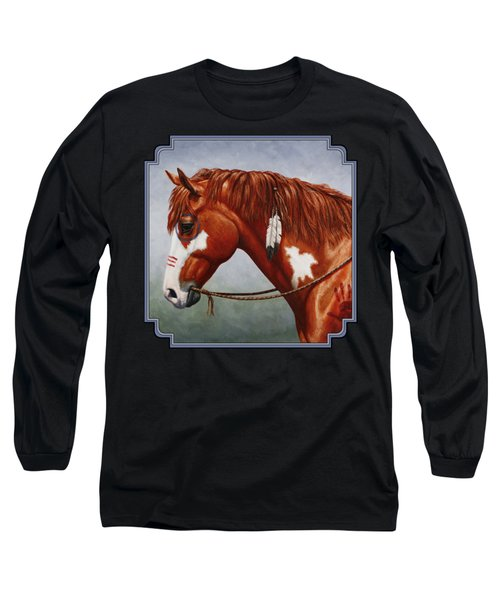 Native American War Horse Long Sleeve T-Shirt by Crista Forest