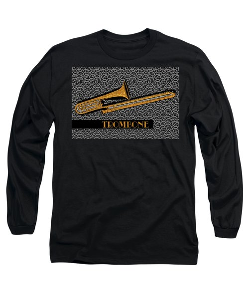 Trombone Tunes Long Sleeve T-Shirt by Cecely Bloom