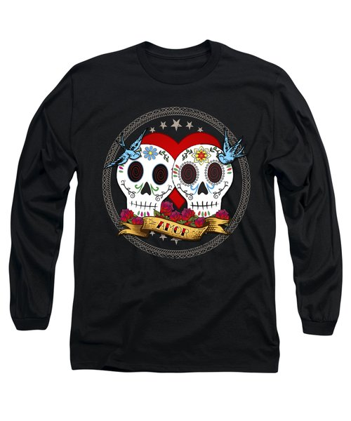 Love Skulls II Long Sleeve T-Shirt by Tammy Wetzel
