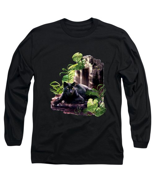 Black Panther Custodian Of Ancient Temple Ruins  Long Sleeve T-Shirt by Regina Femrite