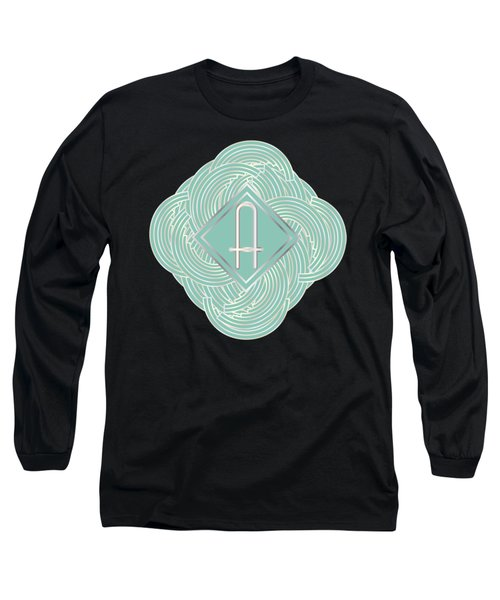 1920s Blue Deco Jazz Swing Monogram ...letter A Long Sleeve T-Shirt by Cecely Bloom