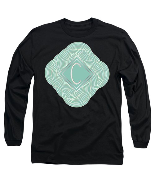 1920s Blue Deco Jazz Swing Monogram ...letter C Long Sleeve T-Shirt by Cecely Bloom