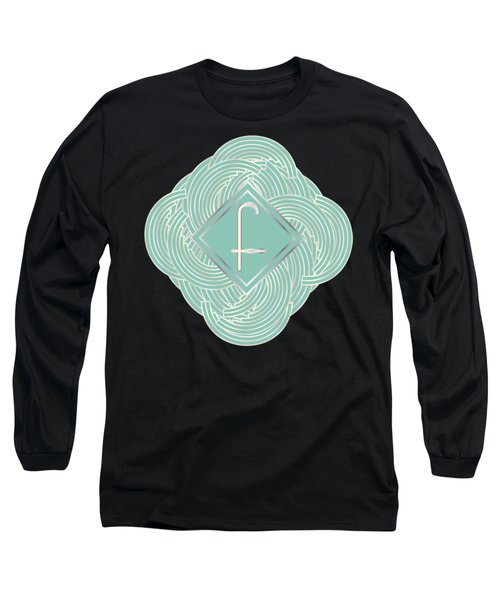 1920s Blue Deco Jazz Swing Monogram ...letter F Long Sleeve T-Shirt by Cecely Bloom