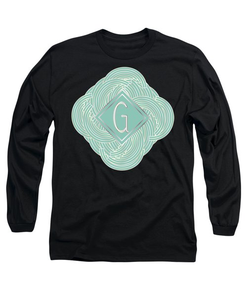 1920s Blue Deco Jazz Swing Monogram ...letter G Long Sleeve T-Shirt by Cecely Bloom
