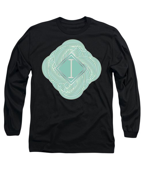 1920s Blue Deco Jazz Swing Monogram ...letter I Long Sleeve T-Shirt by Cecely Bloom