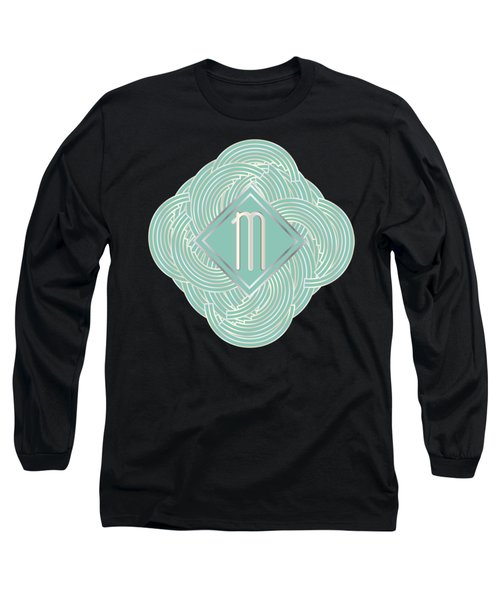 1920s Blue Deco Jazz Swing Monogram ...letter M Long Sleeve T-Shirt by Cecely Bloom