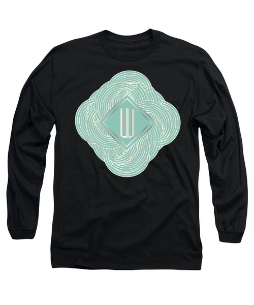 1920s Blue Deco Jazz Swing Monogram ...letter W Long Sleeve T-Shirt by Cecely Bloom