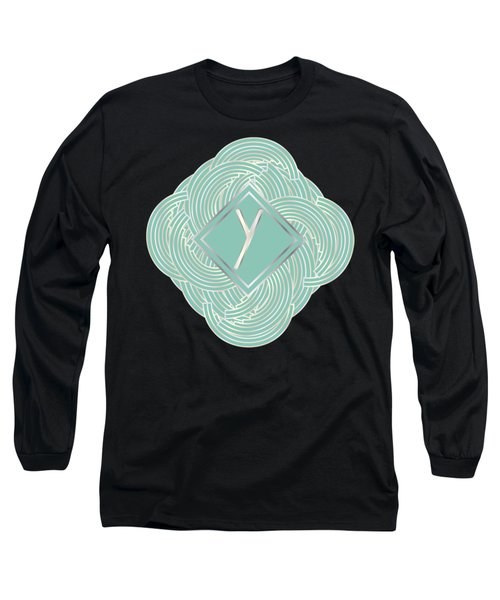 1920s Blue Deco Jazz Swing Monogram ...letter Y Long Sleeve T-Shirt by Cecely Bloom