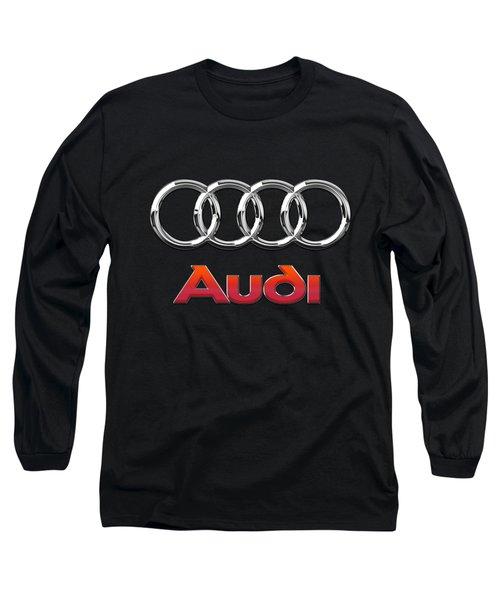 Audi 3 D Badge On Black Long Sleeve T-Shirt by Serge Averbukh