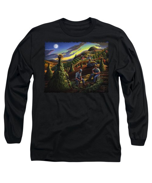 Autumn Farmers Shucking Corn Appalachian Rural Farm Country Harvesting Landscape - Harvest Folk Art Long Sleeve T-Shirt by Walt Curlee