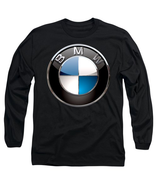 B M W - 3d Badge On Black Long Sleeve T-Shirt by Serge Averbukh