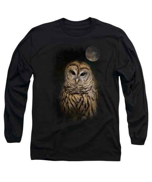 Barred Owl And The Moon Long Sleeve T-Shirt by Jai Johnson