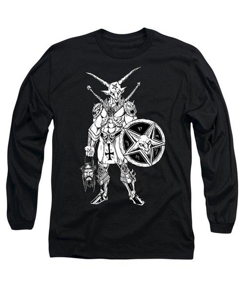 Battle Goat Black Long Sleeve T-Shirt by Alaric Barca