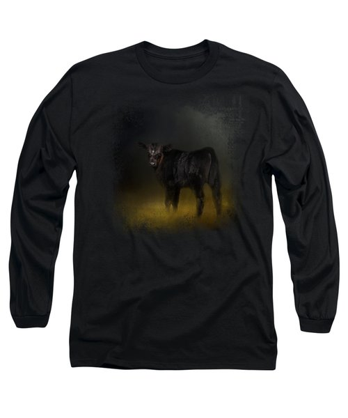 Black Angus Calf In The Moonlight Long Sleeve T-Shirt by Jai Johnson