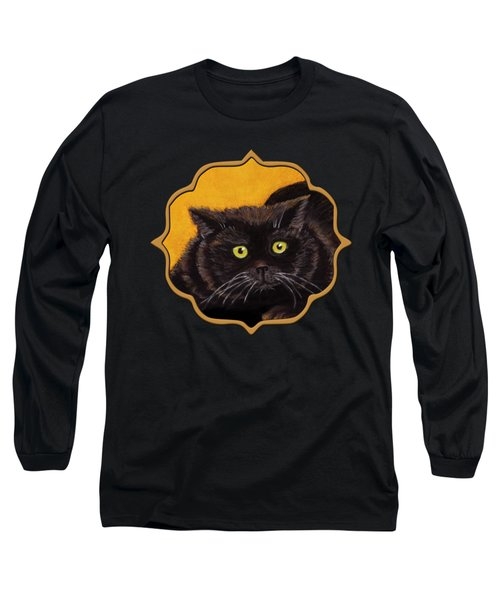 Black Cat Long Sleeve T-Shirt by Anastasiya Malakhova