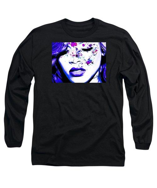 Blue Rihanna Long Sleeve T-Shirt by Alex Antoine