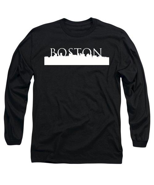 Boston Skyline Outline Logo 2 Long Sleeve T-Shirt by Joann Vitali