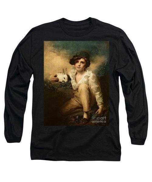 Boy And Rabbit Long Sleeve T-Shirt by Sir Henry Raeburn