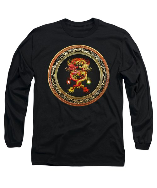 Brotherhood Of The Snake - The Red And The Yellow Dragons On Black Velvet Long Sleeve T-Shirt by Serge Averbukh