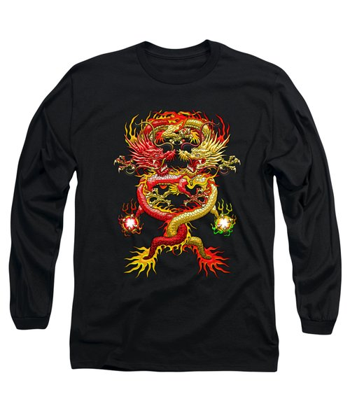 Brotherhood Of The Snake - The Red And The Yellow Dragons On Red And Black Leather Long Sleeve T-Shirt by Serge Averbukh