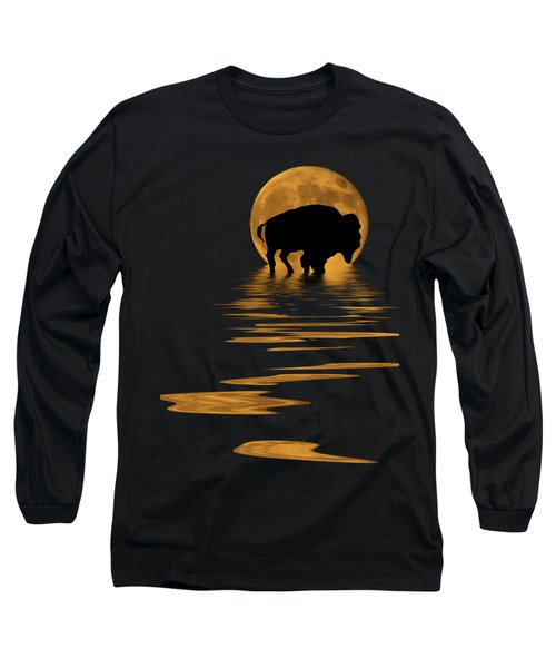 Buffalo In The Moonlight Long Sleeve T-Shirt by Shane Bechler