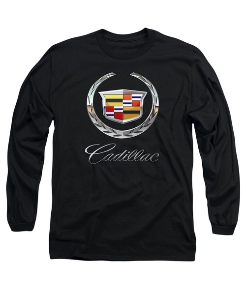 Cadillac - 3d Badge On Black Long Sleeve T-Shirt by Serge Averbukh