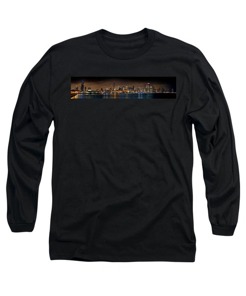 Chicago Skyline At Night Extra Wide Panorama Long Sleeve T-Shirt by Jon Holiday